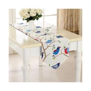 Coffee Table Runner Reindeer Pine Tree Child Party,Birthday Gift,Baby Shower Gift,Children Playroom Linen-Custom Curtain,Valance,FREE GIFT