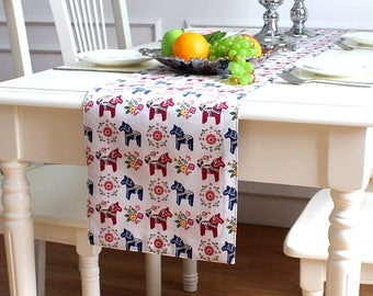 Table Runner Cotton Linen Swedish Dala Horse Dining,Coffee,Party,Wedding,Birthday,Shower  Gift  Shabby Chic,Rustic,Tablecloth,GET FREE GIFT