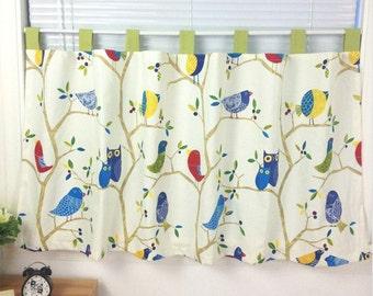 Cafe Curtain Window ValanceKitchen CurtainKids CurtainChild Curtain PlayroomBathroom Shower Curtain--Hummingbird Navy Stripe Tassel,GIFT