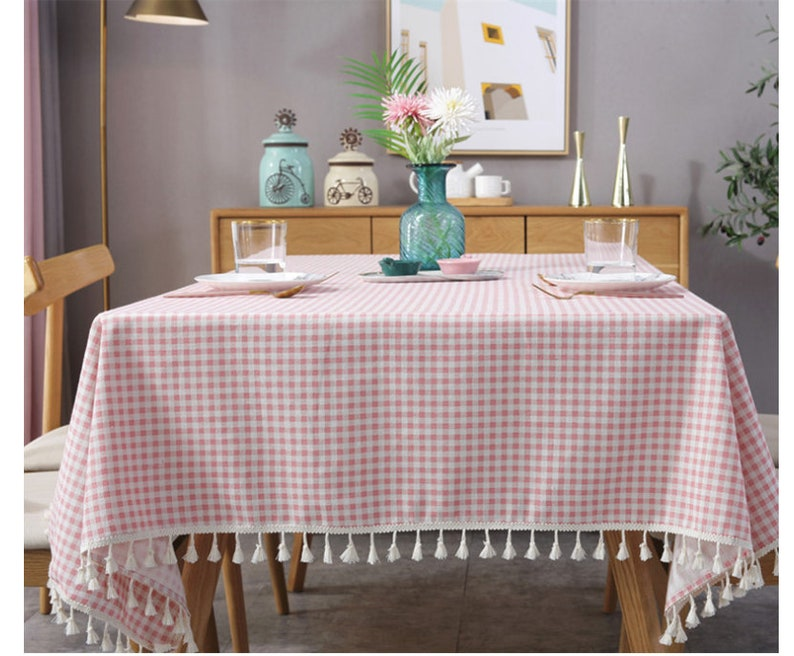 Linen Tablecloth Tassel Fringe 5 Colors Rectangle Square Round Oval Coffee,Cafe,Party,Wedding,Shower Gift----Gingham Check,Rustic,FREE GIFT