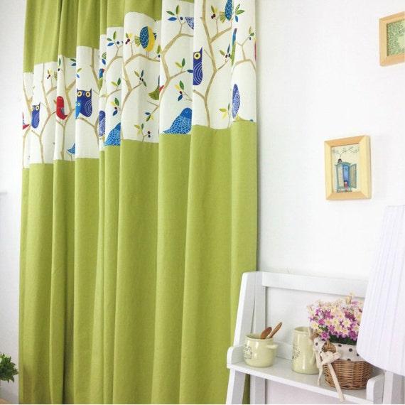 Cafe Curtain Window ValanceWindow Treatment TopperKitchenBathroomKids NurseryChildrenLiving Room Drape----Green Tree Bird,FREE GIFT