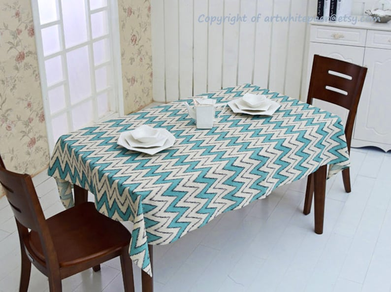 Blue Cream Chevron Rectangle Square Round Tablecloth Dinner,Party,Wedding,Birthday Gift-Cotton linen Custom Runner,Pillow case,GET FREE GIFT