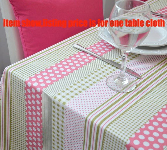 Pink Polka Dots Green Stripe Rectangle Square Round Tablecloth Dinner,Party,Wedding,Baby Shower-Custom Table Runner,Pillow,GET FREE GIFT