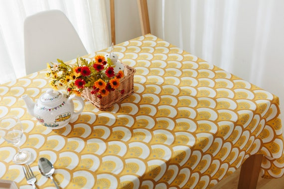 Tablecloth Cotton Linen Scallop Shell Rectangle Square Round Etsy
