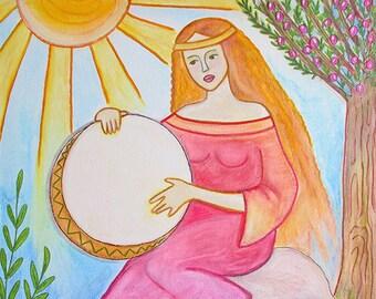 Woman with Bendir Original Painting on Canvas 40x40cm, Greek artist