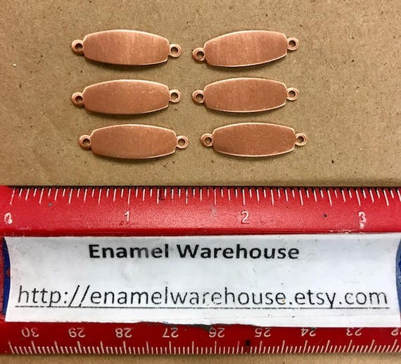 """Copper Blanks Connecting Oval W// Rings 1 x 5//16/""""  24ga Pkg Of 6"""