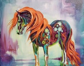 Waves of Fire. 12 x 12 canvas horse art print. gypsy vanner. equine art. colorful horse contemporary western