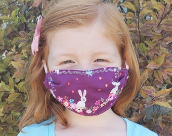 Purple Bunnies Kids' Mask -- Cotton Fabric Face Mask with Elastic Ear Loops, Kid-Friendly - Personal, Non-Medical Use