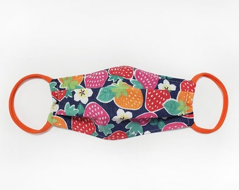 Strawberry Print Cotton Fabric Face Mask - Personal Use, Non-Medical Fabric Face Mask with Elastic Ear Loops
