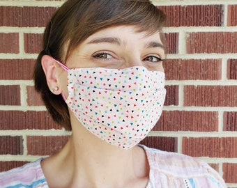 SALE - Pink Confetti Print Cotton Fabric Face Mask - Personal Use, Non-Medical Fabric Face Mask with Elastic Ear Loops