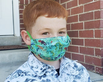 Jungle Print Kids Face Mask -- Snakes, Frogs, Bugs Cotton Fabric Face Masks with Elastic Ear Loops, Kid-Friendly - Personal, Non-Medical Use