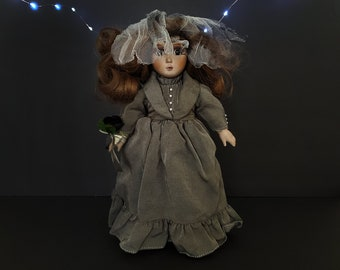 Little Undead Bride -- OOAK Creepy Vintage Doll in Grey Wedding Dress and Veil -- Haunted Halloween Decor, Spooky, Scary, One of a Kind