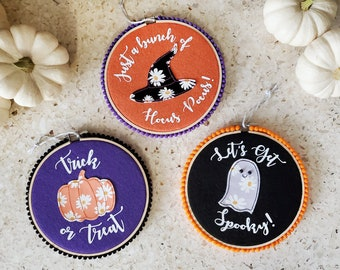 Halloween Embroidery Hoop Wall Decor Set - Trio of Round Embroidery Hoops with Faux Leather Appliques, Cute Phrases and Pom Pom Trim