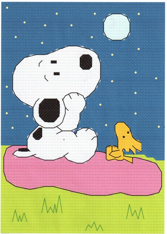 Snoopy & Woodstock blickte zu der Mond Cross Stitch Pattern | Etsy
