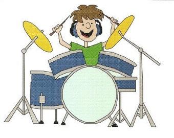 Batterista Cross Stitch Patter tamburi