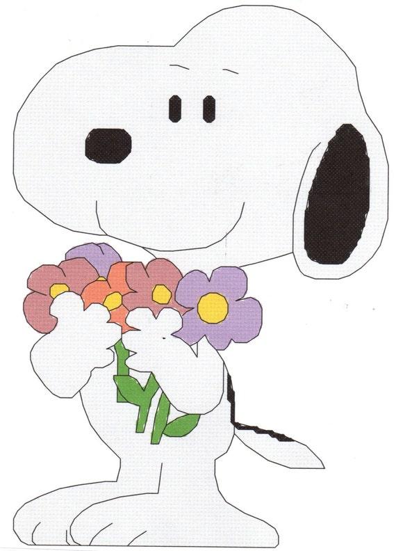 Ramo de flores punto de cruz patrón Snoppy | Etsy