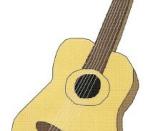 6 String Guitar counted Cross Stitch Pattern