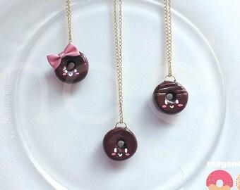 chocolate donut necklace, handmade food jewelry