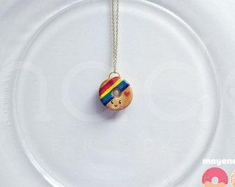 rainbow donut necklace, handmade food jewelry