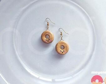 plain donut earrings, handmade food jewelry
