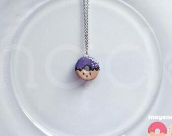 ube coconut donut necklace, handmade food jewelry