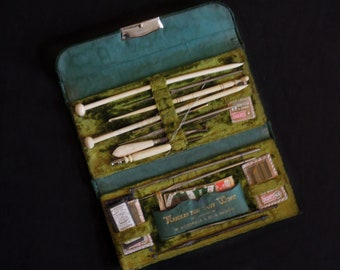 Antique / Vintage 1900's W. Woodfield and Sons Leather Sewing Case & Tools / Knitting / Crochet / Sewing Needles / Tri Fold Sewing Kit