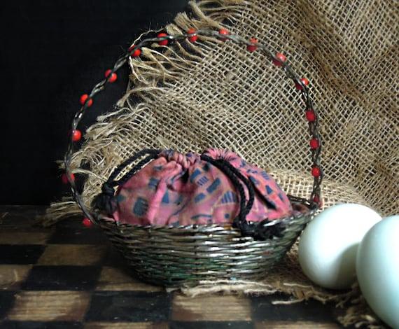Antique Child's Basket Purse / Easter Purse / Fren