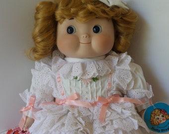 "Vintage DOLLY DINGLE Doll in White Eyelet Dress, 16"" LE Porcelain Musical Dolly Dingle Doll, #18 of 1500, 1985, House of Global Art"