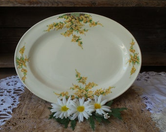 Antique Edwin M Knowles China Serving Platter, Yellow Flowers Plate, Discontinued Pattern 442E1T, Yellow and Orange Flowers Smooth Edge