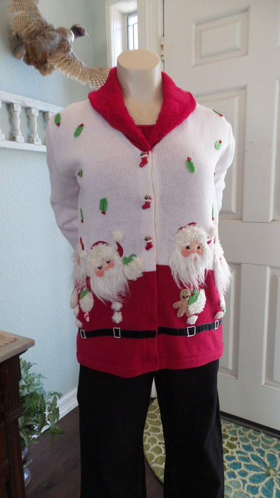 Vintage UGLY CHRISTMAS Sweater, Santa Sweater by S