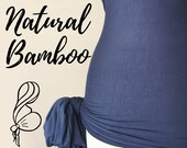 Denim Blue Natural Bamboo Womb Wrap Soft and Stretchy Postpartum Binder Bengkung Belly Binding Alternative Diastasis Recti Seamless