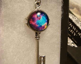 Galaxy Nebula Key Necklace in Antique Silver (2559)