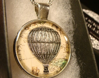 Hot Air Balloon Vintage  Map Pendant Necklace (2365)