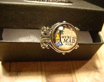 Alice in Wonderland- We're All Mad Here Ring in Antique Silver (2444)