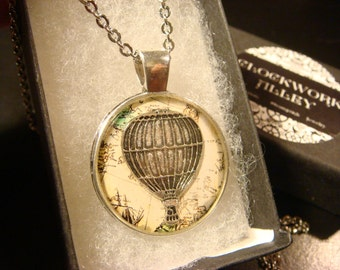 Hot Air Balloon Vintage  Map Pendant Necklace (2051)