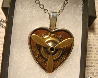 Movable Propeller Heart Steampunk Inspired Necklace-  (2562)