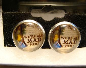 We're All Mad Here- Alice in Wonderland Stainless Steel Stud Earrings (2545)