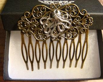 Antique Bronze Octopus Hair Comb (3173)