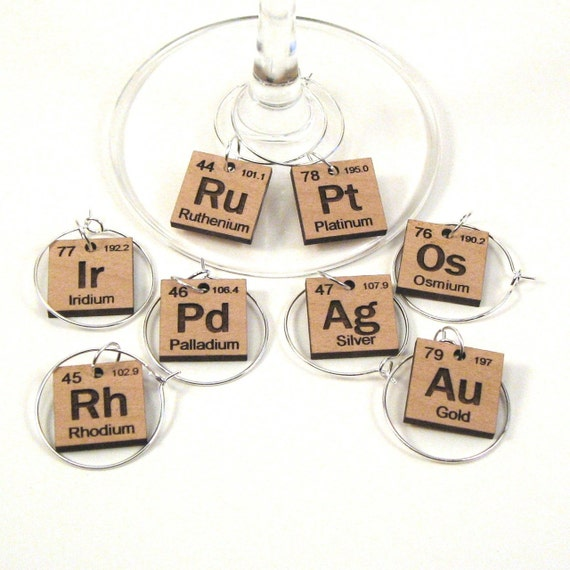 Wine Glass Charms Periodic Table Precious Metals Etsy