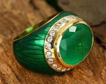 c04e735b8 11.32tcw Dark Green Oval Colombian Emerald Diamond Enamel Cocktail Unisex  Ring 14k, Big Emerald Diamond Gold Ring, May birthstone
