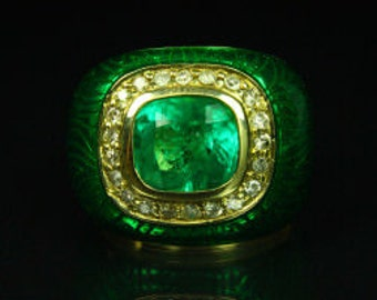 af4d7662a 4.30tcw Colombian Emerald, Diamond & Enamel Cocktail Ring 14K, Enamel  Emerald Ring, Handmade Men Ring, Green Emerald Men Ring