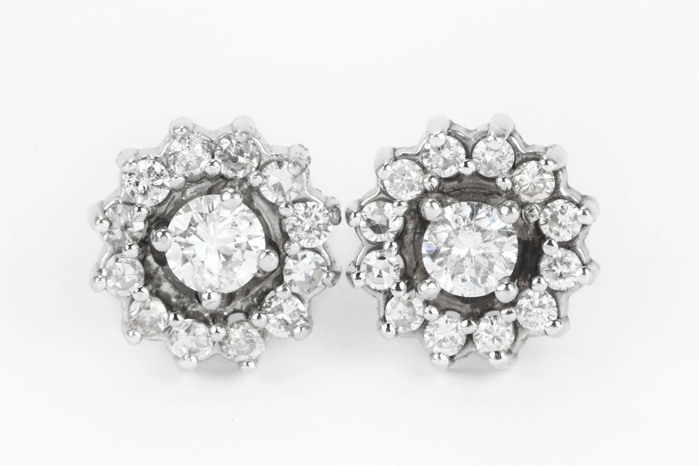 14K Vintage Diamond Stud Earrings 14K Antique Diamond Halo
