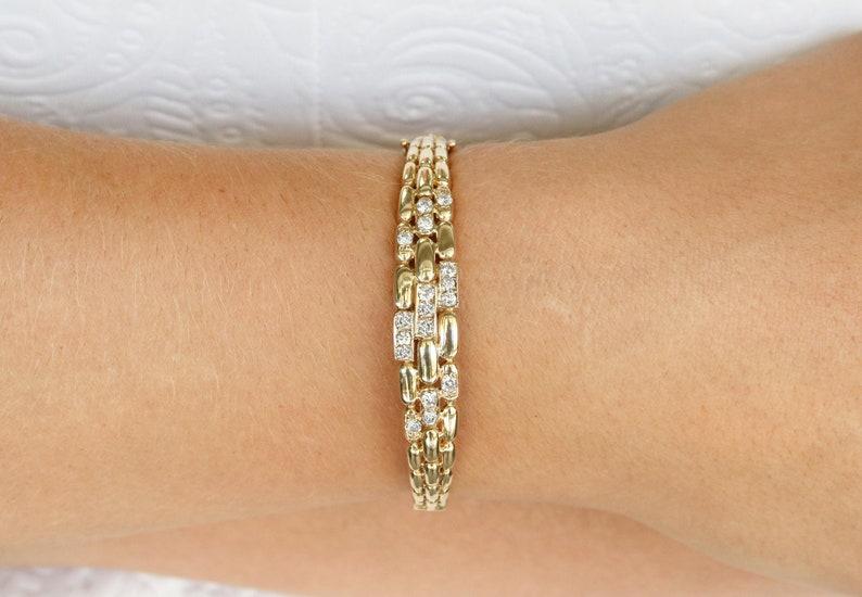 Good Diamond Bangle Bracelet Fine Bracelets 0.20 Tcw D Vs Round Cut 14k White Gold Gift New