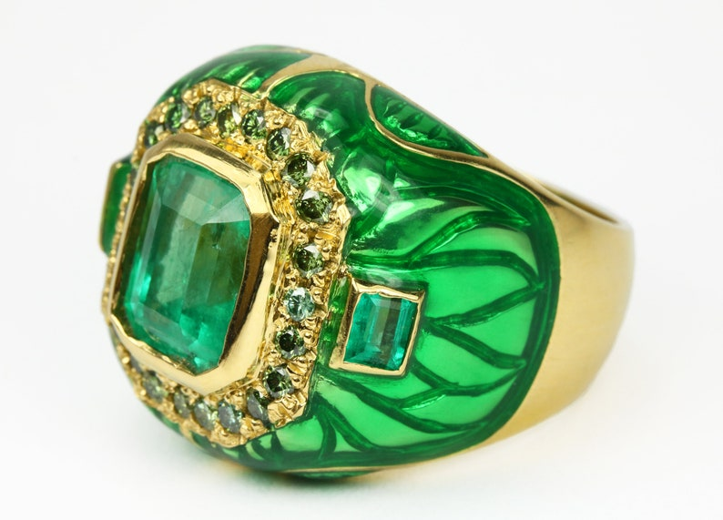8321d1da0 4.45tcw Colombian Emerald Diamond Enamel & Gold Cocktail | Etsy