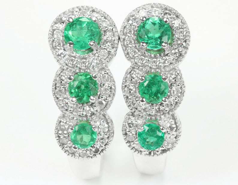 0f5b9d0197f88 2.0tcw Colombian Emerald & Diamond Omega Earrings 14k, Emerald Omega  Earrings, Diamond Emerald Graduating Gold Earrings 14K, May Anniversary