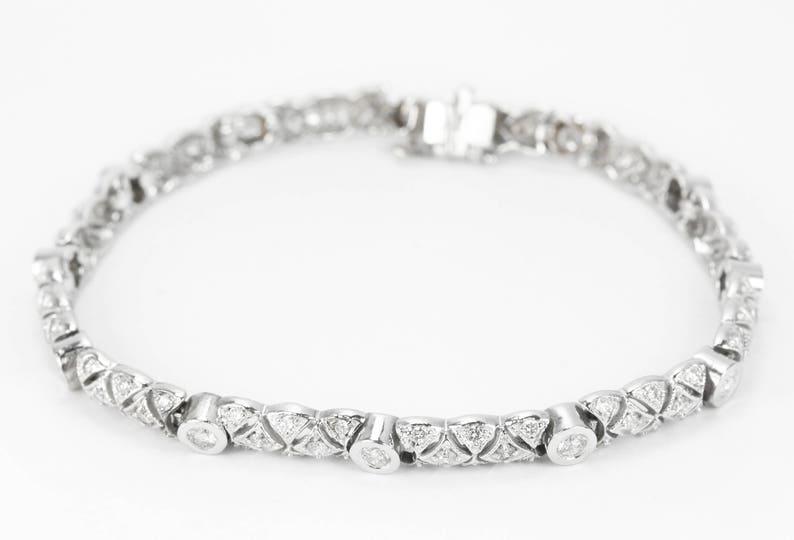 f3d06b05122c6 14K 2.15tcw Vintage Diamond Tennis Bracelet 14K, Art Deco diamond bracelet,  diamond white gold bracelet, Art Nouveau Bracelet