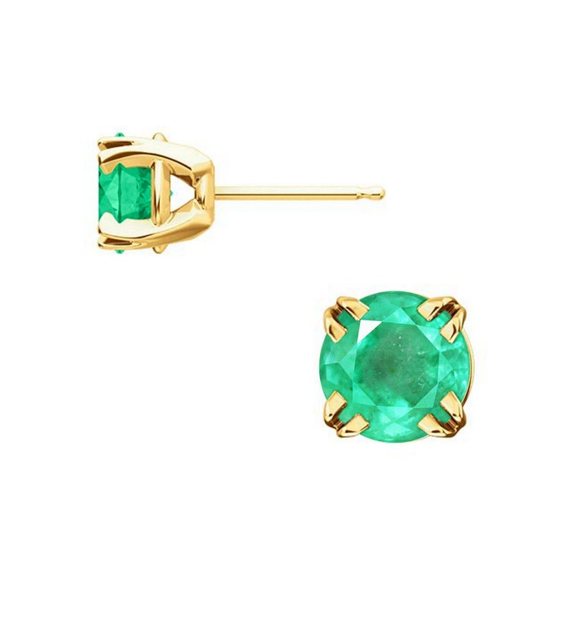 5c94b8268 Round Colombian Emerald 4 Prong Claw Basket Earring 14K Gold | Etsy