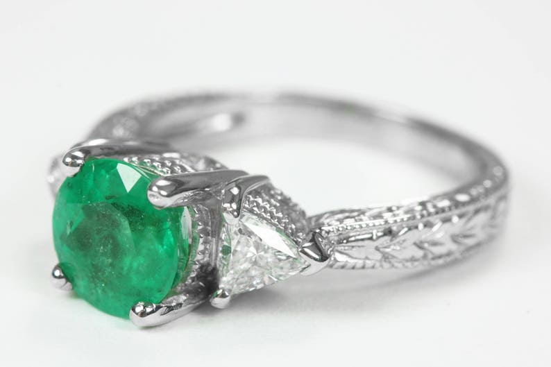 f3d83242d2e87 2.0tcw Colombian Emerald & Trillion Diamonds Engagement Ring 14k, Round  emerald engagement ring, solitaire with accent emerald ring, Emerald