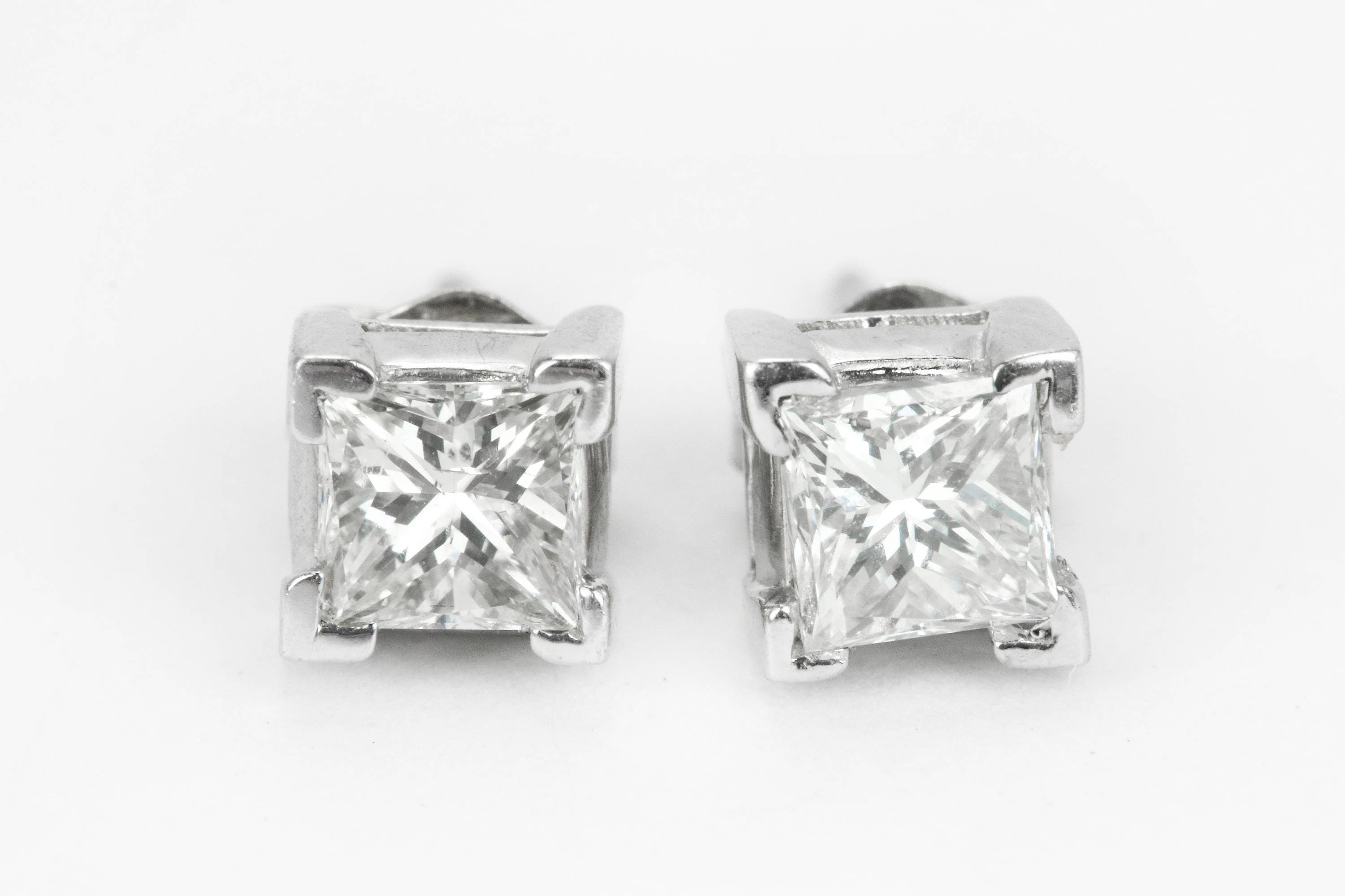 0 70cts Gold Stud Earrings Princess Cut Diamond Stud