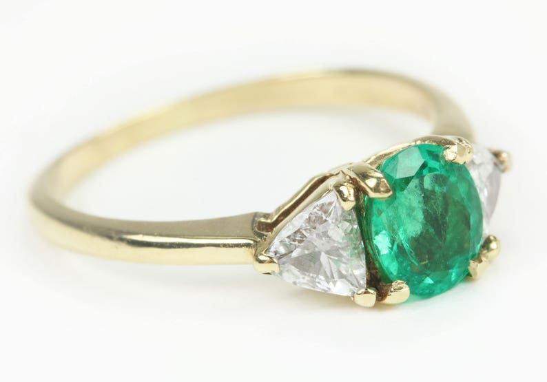 69af0673bf571 1.60tcw Oval Cut Colombian Emerald & Trillion Diamond Engagement Ring 14k,  Emerald Trillion Cut Diamond Ring, Three Stone Ring